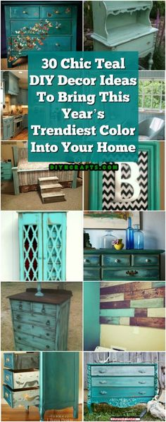 30 Chic Teal DIY Decor Ideas To Bring This Year's Trendiest Color Into Your Home --- TEAL! You will love these easy diy teal home decor ideas! Try these diy projects today! Teal Home Decor, Retro Home Decor, Diy Home Decor, Apartment Furniture, Home Decor Furniture, Furniture Makeover, Painting Furniture, Diy Teal Furniture, Furniture Refinishing