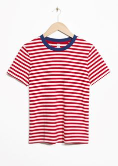 & Other Stories image 1 of Contrast Neck Striped Tee in Red