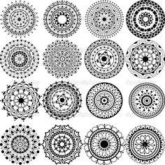 Beautiful Mandalas to Color | set of beautiful mandalas and lace circles — Stock Vector © Alina ...