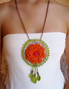 Orange flower medallion necklace and beads boho chic crochet fabric