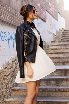 Casual Dress & Leather Jacket with