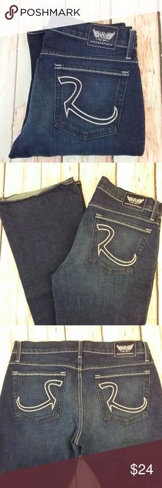 Rock & Republic Kasandra Jeans EUC Rock & Republic Kasandra Jeans.  Size 30 bootcut. Made of 98% cotton & 2% spandex. The measurements in inches are wasit 30, hip 36, inseam 35, outseam 44, front rise 9, back rise 13 1/2, leg opening 9 1/2.  (A05) Rock & Republic Jeans Boot Cut