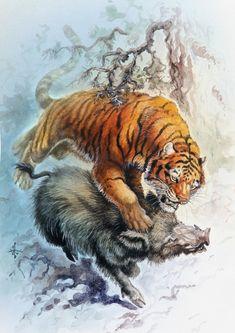 African animal art pictures 29 New ideas Big Cats Art, Cat Art, Japan Tattoo Design, Tiger Painting, Japan Painting, Tiger Art, Cool Art Projects, African Animals, Wildlife Art
