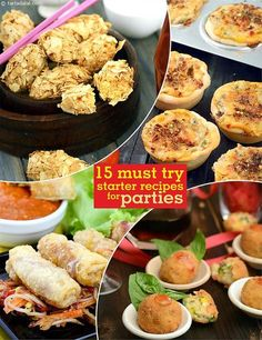 15 Must Try Starter Recipes for Parties Vegetarian Starter Recipes, Vegetarian Starters, Veg Recipes, Indian Food Recipes, Snack Recipes, Cooking Recipes, Prawn Recipes, Recipies, Veg Appetizers