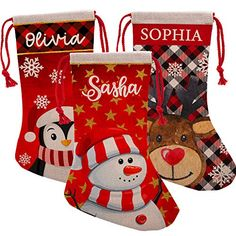 Personalized Christmas Stockings - Let's Personalize That Christmas Names, Plaid Christmas, Reindeer, Snowman, 3d Snowflakes, Xmas Stockings, Gifts For Family, Holiday Decor, Penguin