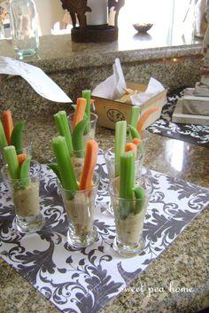 great appetizer idea - crudite in shot glasses with hummus