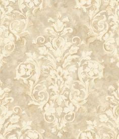 Handpainted III Painterly Damask Linen Wallpaper HP0366