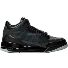 "This is the Air Jordan III (3) ""Black Flip"" in grade school (GS) size. In 2007 Jordan Brand retroed the AJ III (3) with a new twist that flipped the elephant print to become the main pattern on the shoes' upper."