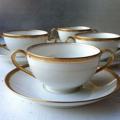 Set of Limoges Consomme Cups and Saucers by Second Story, $80.00 USD #zibbet