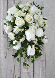 Wedding Bridal Showerwaterfall Bouquetpale Ivory Silk Roseseucalyptusdainty