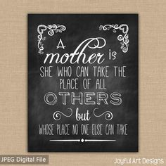 Mother's Day Chalkboard PRINTABLE. Mother Quote. Gift for Mom Chalkboard Sign. Jpeg DIGITAL file.