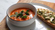 Tinned Tomatoes, Cherry Tomatoes, Soup Broth, Tomato Soup Recipes, Food Names, Pesto Recipe, Basil Pesto, Roasting Pan, Bon Appetit