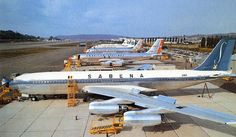 Sabena Boeing 707 on the Boeing flightline with sister aircraft| Follow civil aviation on AerialTimes. Visit our boards on Pinterest at www.pinterest.com/aerialtimes or like us on www.facebook.com/aerialtimes