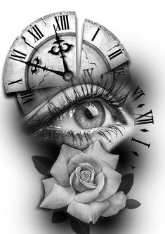 Vorlagen ,Kunden, – tattoo style - Old School Clock Tattoo Design, Tattoo Design Drawings, Tattoo Sleeve Designs, Tattoo Sketches, Tattoo Designs Men, Sleeve Tattoos, Clock Drawings, Skull Tattoo Design, Compass Tattoo