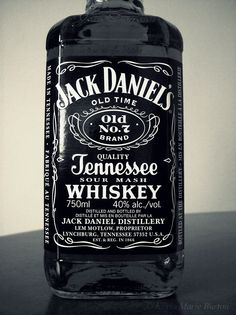 Jack Daniel's Tennessee Whiskey (Taken by me) Black and white. #Photography #alcohol #drink