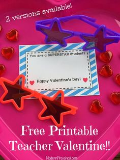 Free printable superSTAR teacher Valentine with star plastic sunglasses for kids