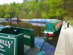 Greenfield  by Zrnho Correy narrow canal barges parking in greenfield England.