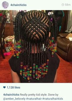 Girl with braided cornrows and beads Braids for kids is one of the most simple yet effective hairstyles you can administer for African American children. Help seal in the moisture the easy way. Lil Girl Hairstyles, Cute Hairstyles For Kids, Kids Braided Hairstyles, My Hairstyle, African Hairstyles, Cool Hairstyles, Hairstyles Pictures, Black Hairstyles, African American Kids Hairstyles