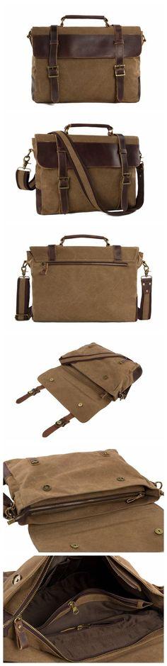 f50c1a8b9b Canvas Leather Bag   Briefcase Messenger Bag   Shoulder Bag   Laptop Bag  1870 from Unihandmade Leather Studio