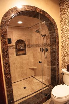 Bathroom Design - travertine and marble. Nice motif on the wall and t. Luxurious Bathroom Design - travertine and marble. Nice motif on the wall and t.Luxurious Bathroom Design - travertine and marble. Nice motif on the wall and t. Shower Remodel, Bath Remodel, Dream Bathrooms, Beautiful Bathrooms, Marble Bathrooms, Luxury Bathrooms, Modern Bathroom Design, Bathroom Interior, Bathroom Furniture