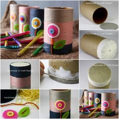 If you have any quick and easy DIY ideas with easy Toilet Paper Roll craft ideas, don't forget to share with us. Tissue Roll Crafts, Toilet Paper Roll Crafts, Paper Crafts, Desk Organization Diy, Diy Desk, Cool Diy, Pen Holder Diy, Pencil Holders, Handmade Crafts