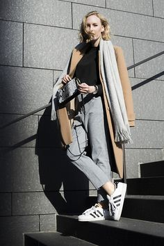 Get this look: http://lb.nu/look/8015070  More looks by Hédi Szabó: http://lb.nu/hedinke  Items in this look:  H&M Scarf, Vintage Camel Coat, Epiclogue Cropped Sweater, Daniel Wellington Dw Watch, Paul's Boutique London Ltd. Snake Crossbody, Epiclogue High Waist Pants, Adidas Superstar   #chic #classic #street