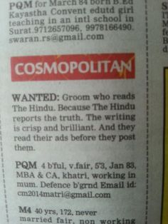 Hmm interesting ad for the Hindu. Note : no forwarding or contact info m