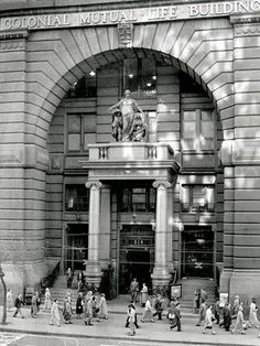 Art Deco entrance to the Equitable Life Assurance building, 314 Collins St, Melbourne. Melbourne Architecture, Australian Architecture, Melbourne Victoria, Victoria Australia, Home History, Family History, Melbourne Suburbs, World Images, Melbourne Australia