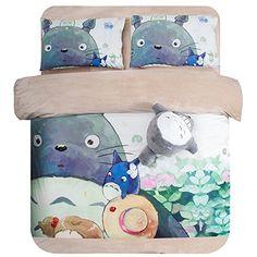 Luk Oil Home Textile,Japanese Miyazaki Hayao Animation Totoro Cartoon Bedding Set Thick Warm Totoro Painting Short Plush Velvet Bed Sheets,Twin Size,3Pcs