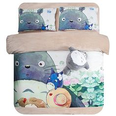 Luk Oil Home Textile,Japanese Miyazaki Hayao Animation Totoro Cartoon Bedding Set Thick Warm Totoro Painting Short Plush Velvet Bed Sheets,Twin Size,3Pcs
