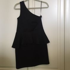 One shoulder black peplum dress Super cute cocktail/party dress. I wore it to a college formal. Only worn once. In perfect condition! Lovers + Friends Dresses One Shoulder
