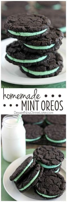 These Homemade Mint Oreos have a simple mint buttercream sandwiched between crisp, yet tender, dark chocolate cookies! on MyRecipeMagic.com