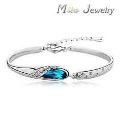 Free Shipping 925 Pure Sterling Silver Bracelets Crystal Cuff Bracelets Jewelry Gift  Srebrna bransoletka pulsera de plata