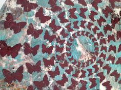 A beautiful butterfly motif in marble on a side table.