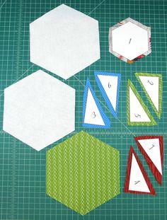 Hexagon Mug Mat — Crafty Staci Scrap Quilt Patterns, Mug Rug Patterns, Fabric Crafts, Sewing Crafts, Mug Rug Tutorial, Bird Quilt, Fabric Coasters, Small Sewing Projects, Hexagon Quilt