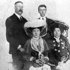 The last time the entire family traveled abroad together. Standing from L to R..James ( Jim ) Joseph Brown. Lawrence Palmer Brown. Seated L to R  Helen Brown Benziger ( my Grandmother ) and Margaret Tobin Brown. I believe this is in 1909