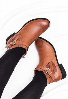 0fe815f202ee NASTA Adjustable Buckle Flat Chelsea Ankle Boots Shoes Ladies Tan Ankle  Boots