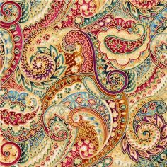 colorful turquoise-purple gold metallic paisley ornament fabric Robert Kaufman  1