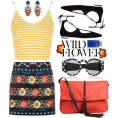 Wild Flower by cara-mia-mon-cher on Polyvore featuring Glamorous, Topshop, Aquazzura, H&M, Opening Ceremony and Nails Inc.