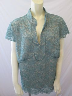Lane Bryant Lace Polyester Spandex Green Cap Sleeve V Neck Top 18W 20W 2X #LaneBryant #Blouse #Career