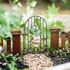 Miniature Dollhouse FAIRY GARDEN ~ Vine Gate With Clay Pot ~ NEW
