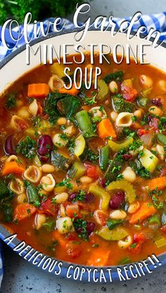 This Olive Garden minestrone soup is loaded with vegetables, beans and pasta in a tomato broth. Chicken Soup Recipes, Veggie Recipes, Beef Recipes, Italian Recipes, Veggie Meals, Healthy Recipes, Fun Recipes, Delicious Recipes, Recipies