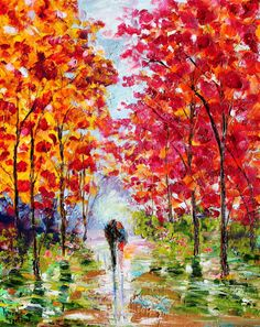 Original oil painting Spring Romance Love Story 16x20 abstract palette knife impressionism on canvas fine art by Karen Tarlton