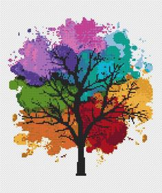 Four Seasons Cross stitch pattern Watercolor Art Rainbow cross stitch Tree Counted cross stitch Modern Embroidery Hoop Art Easy cross stitch Kreuzstichmuster Aquarell Kreuzstichmuster Baum Cross Stitch Tree, Cross Stitch Bookmarks, Simple Cross Stitch, Counted Cross Stitch Patterns, Cross Stitch Charts, Easy Cross, Cat Cross Stitches, Modern Cross Stitch Patterns, Modern Embroidery