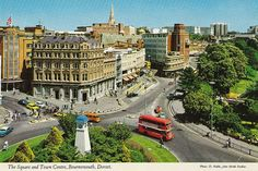 Bournemouth Square, as it used to be. Britain Uk, Great Britain, Dorset England, Bournemouth, Vintage Postcards, Buses, Old Houses, Childhood Memories, Buildings