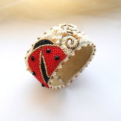 Bead embroidered ladybug bracelet.OOAK. Ready to ship via Etsy