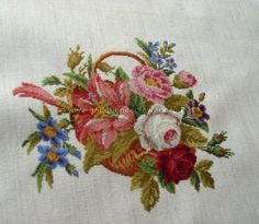"""""""Flower basket"""" Cross-stitch chart. The replica of the antique pattern. Designer: © Belikova Yana, 2014. Stitch count 147w x 128h., 42 colors, cotton embroidery floss DMC (no blend colors). A charming flower basket in the traditional Victorian style. Embroidery. Embroideress Elena Petrova (Russia)."""