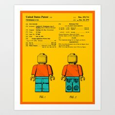 "Lego Man: The Official U.S. Patent Art Print by Jazzberry Blue - 28""x34"" $55.00"