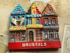 Resin Fridge Magnet, Hand Painted, 7 x 6.8 cm Brussels of Belgium #(Excerpt)