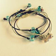 hemp cord & beaded bracelets;  Wobisobi